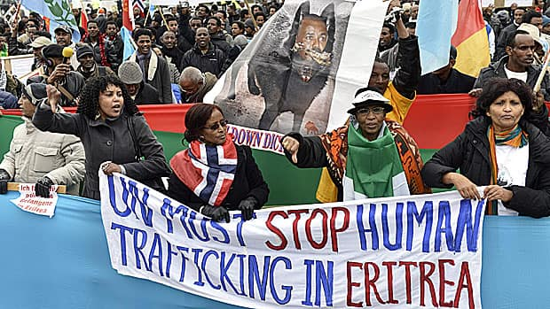 A highly critical human rights report is expected to shed new light on the darker implications of the Conservative government's ambitions for Canadian mining companies in Africa. Last November, several hundred Eritreans demonstrated in Switzerland against Eritrea's dictatorial regime.