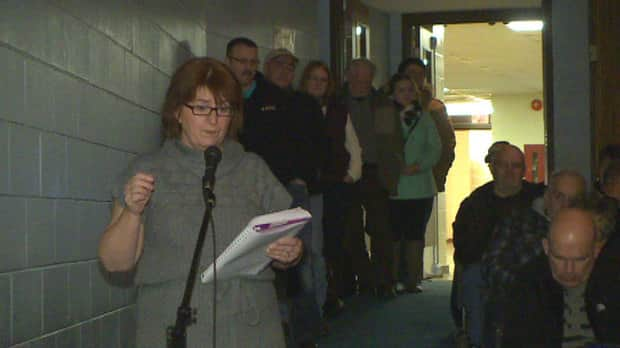 West Prince residents queue at the microphone to ask questions about the emergency room at Western Hospital.