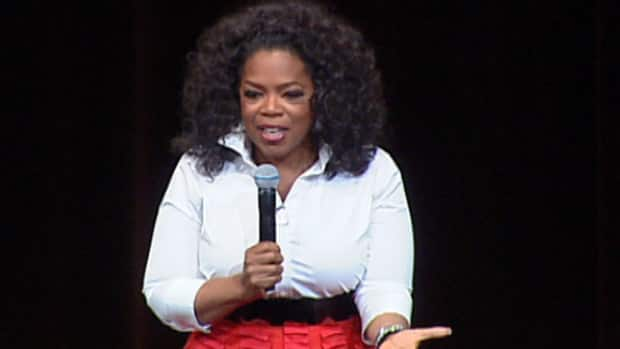 Oprah Winfrey appeared before thousands of fans at Rexall Place Monday in her first visit to Edmonton.