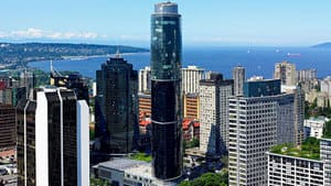 The 48-storey Wall Centre in downtown Vancouver contains a 733-room Sheraton Hotel on the lower floors and luxury residences on the upper floors.