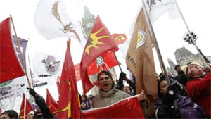 Idle No More protesters, seen here in December, are marching on Parliament Hill again today for a world day of action.