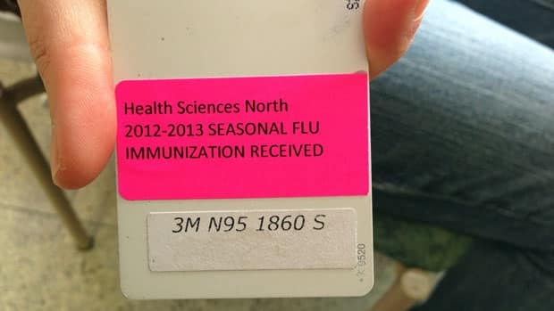 Health Sciences North workers in Sudbury are now required to follow a new flu shot protocol. Those hospital employees who have had a flu shot this season will receive a sticker for the back of their identification cards.