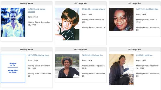 The RCMP launched a national database of missing persons and unidentified remains Thursday. The site is so far only a sampling of cases from across Canada, and has 715 records.