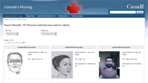 CanadasMissing.ca also has reconstruction images and sketches for some of its 157 records of cases of unidentified remains.