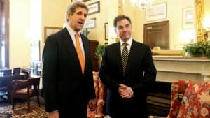 Senate Foreign Relations Committee Chairman Sen. John Kerry, D-Mass., left, welcomes Environment Minister Jim Prentice, in this photo dated Monday, March 2, 2009, on Capitol Hill in Washington.
