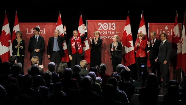 Liberal party leadership candidates Joyce Murray, Justin Trudeau, Marc Garneau, David Bertschi, Martha Hall Findlay, Deborah Coyne, Karen McCrimmon, George Takach and Martin Cauchon at the end of the Liberal Party of Canada 'Davos-style' question-and-answer session in Winnipeg, Saturday, February 2, 2013.