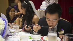 The trend of going shark-free at weddings is happening in Canada too. Audrey Pai and Benjamin Leung eat a shark-free dinner at their wedding reception in Richmond, B.C., on July 21, 2012.