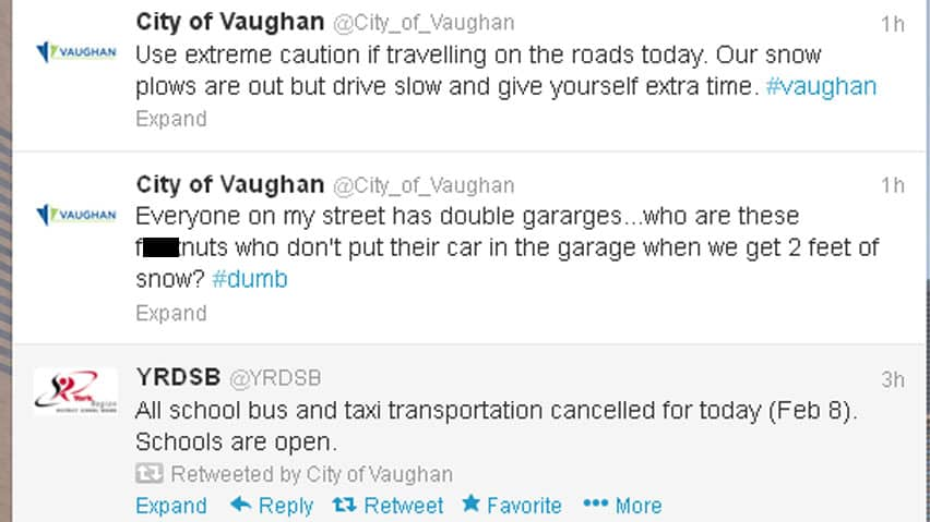 The official City of Vaughan Twitter account was deleted on Friday morning, after an inappropriate tweet about the snowstorm hitting southern Ontario was posted to the account.
