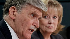 Senator Roméo Dallaire, seen here with Senator Pamela Wallin at a news conference for the security and defence committee in 2010, also misses many sittings. Dallaire says his work for the United Nations and as an activist on child soldiers issues contributes to his absences.