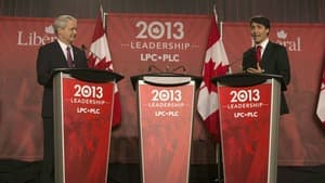 Marc Garneau, left, was the first to challenge Justin Trudeau, right, in the third of five Liberal leadership debates in Mississauga, Ont., on Saturday.