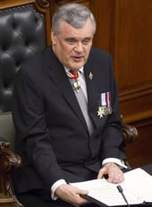 Lt.-Gov. David Onley is seen delivering the throne speech at the Ontario legislature on Tuesday.