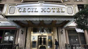 A maintenance worker at the Cecil Hotel found the body earlier in the day after guests complained of low water pressure. (AP Photo/Nick Ut)