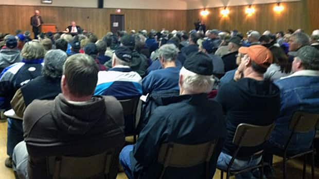 Farmers, ranchers and other property owners around Lake Manitoba filled a community centre in Meadow Lea today demanding answers from Finance Minister Stan Struthers on flood compensation.
