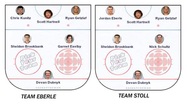 Jarret Stoll and Jordan Eberle have selected their own squads of Saskatchewan NHL all-stars for their fantasy team.