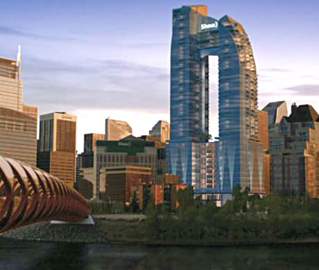 A rendering of what the Calgary skyline could look like with the newly-renovated Shaw Court and new 3 Eau Claire building.