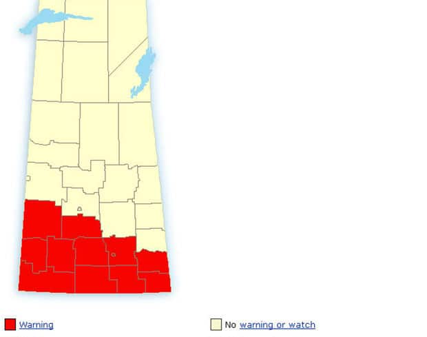 Environment Canada has a storm warning for most of southern Saskatchewan.