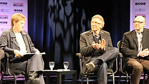 Dr. Anna Reid, left, joins Mark Chamberlain and Dr. Dale Guenter on the town hall panel. (Samantha Craggs/CBC)