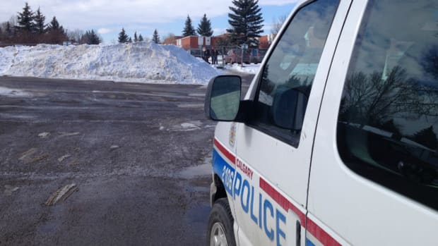 A student was stabbed in the stomach near this snowbank at a southwest Calgary high school Friday.