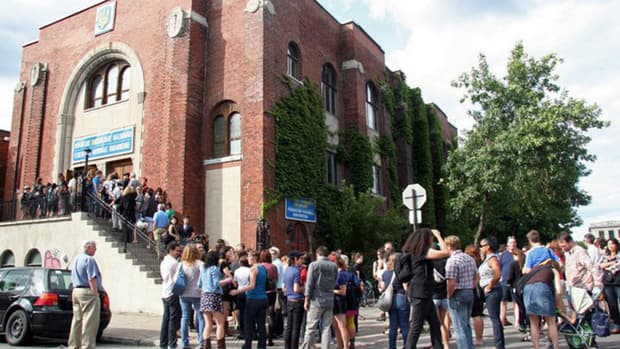 The line up outside the Ukrainian Federation for last year's Rock Camp for Girls showcase.