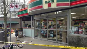 A woman was stabbed inside the 7-Eleven in Vancouver's West End early Sunday morning.