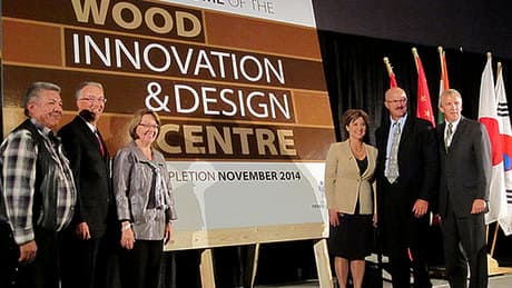 Christy Clark brushes off criticism from Kevin Falcon about wood building