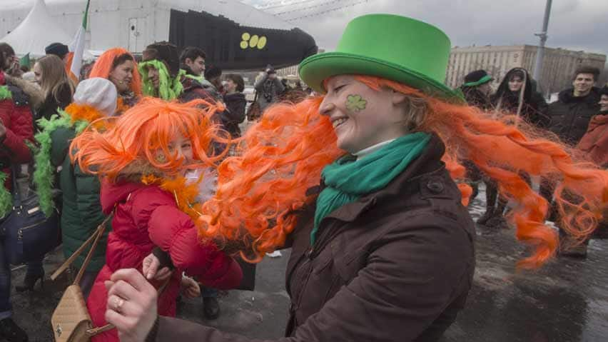 Russians celebrate St. Patrick's Day during the annual parade through Moscow, one of many held in cities across the world as the Irish holiday gains popularity.