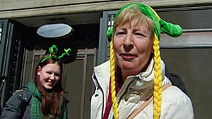 Mary McAuliffe, seen at right, had her hat shipped over from Dublin so that she could wear it on St. Patrick's Day.