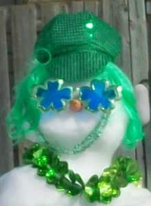 George Niemi tweeted this photo from Barrie, Ont., of a snowman dressed up for St. Patrick's Day.