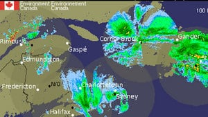 The centre of the storm affecting P.E.I. is sitting just east of Cape Breton, N.S.