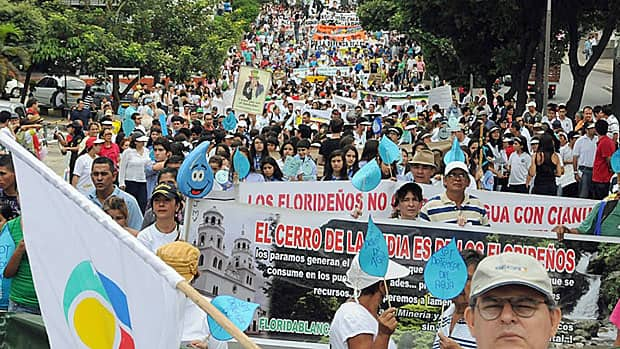 Colombians marched in the streets of Bucaramanga on March 18, protesting against foreign, in this case, mostly Canadian, mining companies that they feel are infringing on their clean water supply.