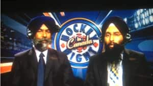 Yakupov tweeted a picture of the two hosts of CBC's Hockey Night in Canada in Punjabi with the message \