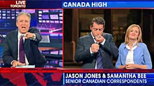 The Daily Show turned to Canadian-born correspondents Jason Jones and Samantha Bee, who joked that smoking crack is a part of Canadian heritage.