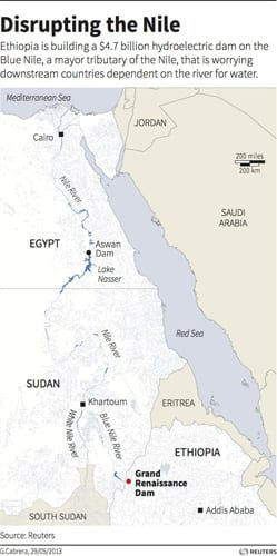 Map of the Nile Rive locating the Grand Renaissance Dam in Ethiopia. A section of the river has been diverted to complete construction of the huge dam which is worrying downstream countries dependant on the river for water.