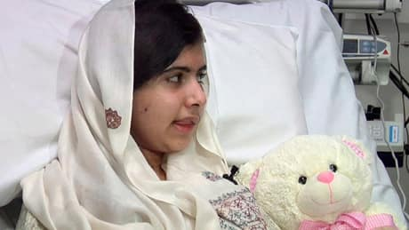 Malala Yousufzai recovers in Queen Elizabeth Hospital in Birmingham, England after undergoing reconstructive surgery to repair damage to her skull in Feb.