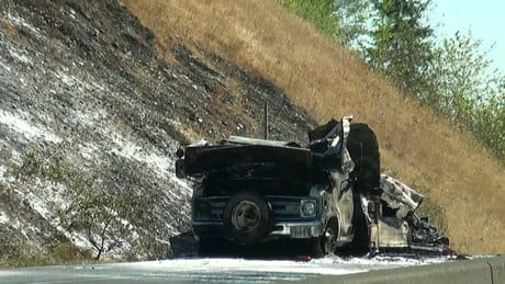 Motorhome blaze sparks Port Coquitlam grass fire