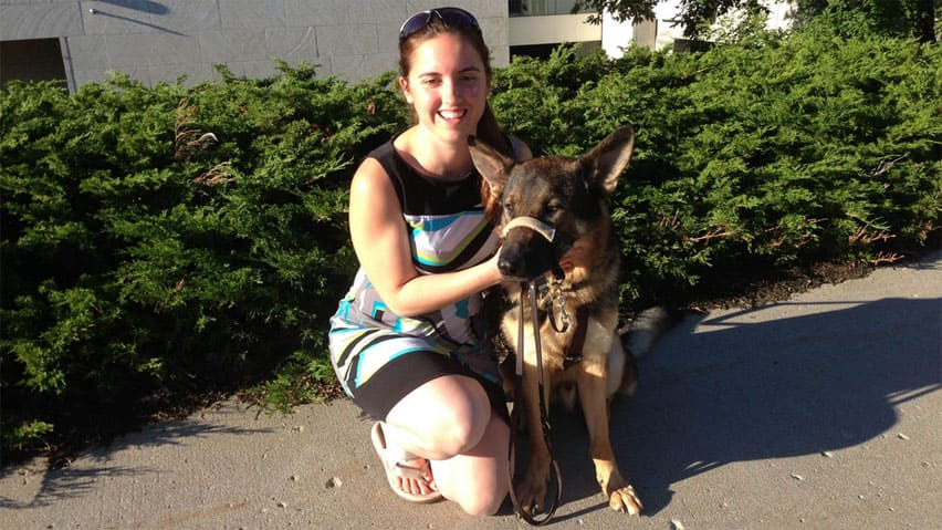Jacqueline Rennebohm says she's looking for a loving home for her 'best friend' Dexter the guide dog.