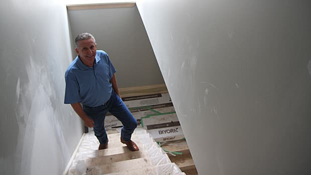 Developer Greg Hart of Skyway Construction is selling a newly renovated home on Dundurn Street South for more than half a million after the property sat vacant for seven years. He attributes this to Hamilton's boom in housing prices. (Samantha Craggs/CBC)