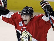 Senators defenceman Anton Volchenkov celebrates after scoring against Anaheim in the second period.
