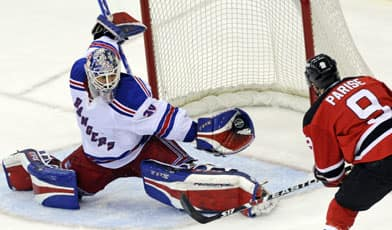New York Rangers goaltender Henrik Lundqvist makes a glove save on    Henrik Lundqvist Glove Save