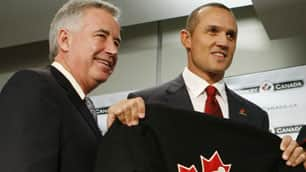 Steve Yzerman, right, was introduced on Saturday as Canada's executive director by Bob Nicholson.