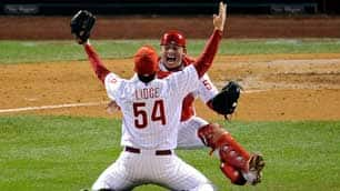 Closer Brad Lidge and catcher Carlos Ruiz celebrate Philadelphia's World Series victory after the Phillies defeated the Tampa Bay Rays at Citizens Bank Park.