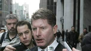 NHLPA director of player affairs Glenn Healy speaks to the media on Thursday after the NHL hearing involving Sean Avery.