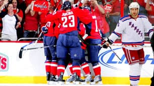 Members of the Capitals celebrate in Game 7 on Tuesday night.