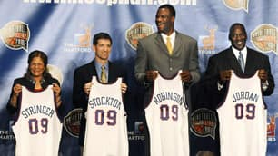 C. Vivian Stringer, John Stockton, David Robinson and Michael Jordan along with Utah Jazz coach Jerry Sloan, not shown, will be inducted into the basketball Hall of Fame on Friday.