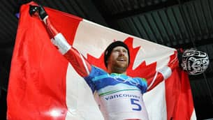 Jon Montgomery celebrated in style after winning gold in skeleton.