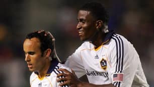 The L.A. Galaxy's Landon Donovan, left, leads the MLS with nine assists while Edson Buddle, right, has a league-high nine goals.