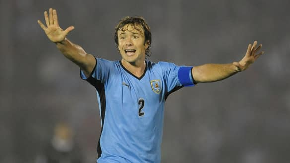 Diego Lugano of Uruguay in action duing the 2010 FIFA World Cup Play Off Second Leg Match between Uruguay and Costa Rica at The Estadio Centenario on November 18, 2009 in Montevideo, Uruguay.