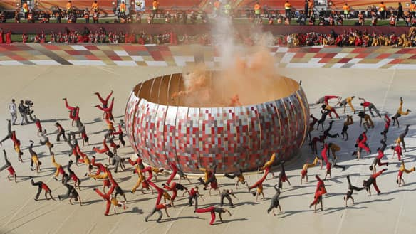 Artists perform during the World Cup opening ceremony at Soccer City in