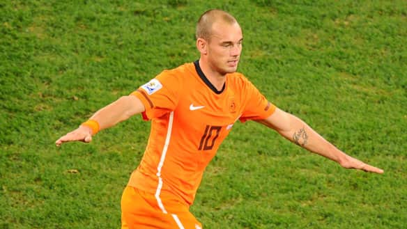 Holland midfielder Wesley Sneijder shares the World Cup lead with five goals. (Christophe Simon/AFP/Getty Images)