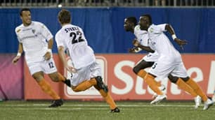 Puerto Rico Islanders' Sandy Gbandi, right, seen in 2009, posted an assist on former Vancouver Whitecap Nicholas Addlery's second goal on Sunday.